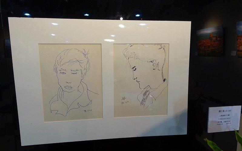 廖仁昌年輕時即熱愛繪畫,圖為他大學時期的原子筆畫。 圖/胡乃云 攝影