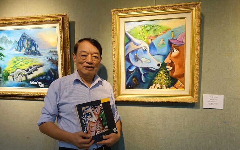 廖仁昌參考19世紀立體派畫家夏卡爾的《我與村莊》,把苗栗三灣鄉的特有景象畫成《思...
