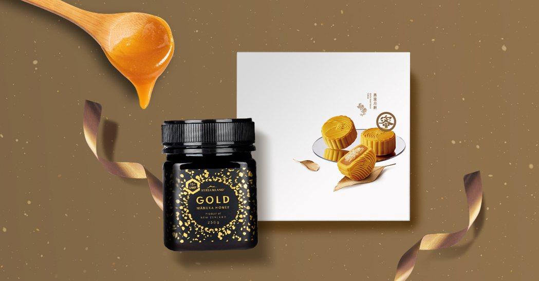 燕窩月餅禮盒+麥蘆卡蜂蜜。業者/提供