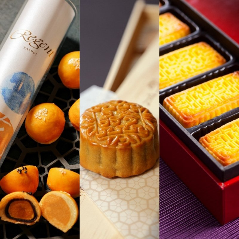 左起:蛋黃酥、廣式月餅、鳳梨澄沙奶黃。