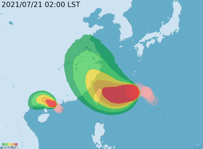 中央氣象局今天凌晨2時的暴風侵襲機率及路徑潛勢預測圖顯示,中颱烟花將持續增強,朝台灣接近中,預測路徑往右調整,不再觸及北部陸地,暴風圈侵襲機率略降。圖/取自氣象局網站
