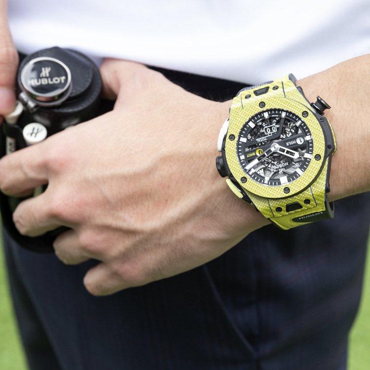 Big Bang Unico Golf極速黃高爾夫腕表,45毫米鍍鋁碳纖維表殼、...