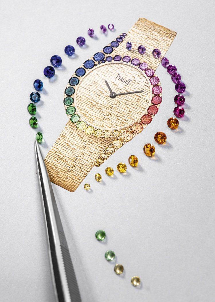 新款伯爵Limelight Gala系列18K玫瑰金彩虹圈高級珠寶鑽表的設計草圖...