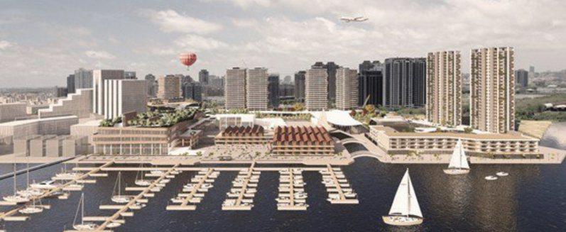 台南安平港水岸複合觀光區規畫模擬。圖/台灣港務局提供