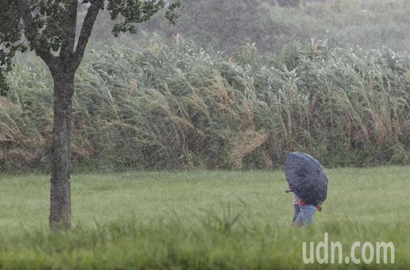 烟花颱風移動速度緩慢,今天天氣一會兒豔陽高照,一會兒下起陣雨,下午在河濱公園運動的民眾遇上一陣大雨。記者潘俊宏/攝影