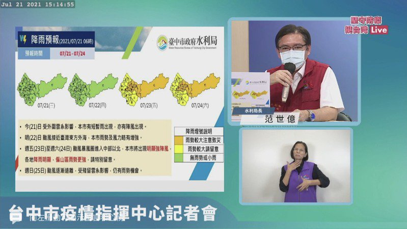 台中市水利局長范世億提醒,颱風來龍,山區恐致災,平地已備沙包供民眾索取。圖/取自臉書