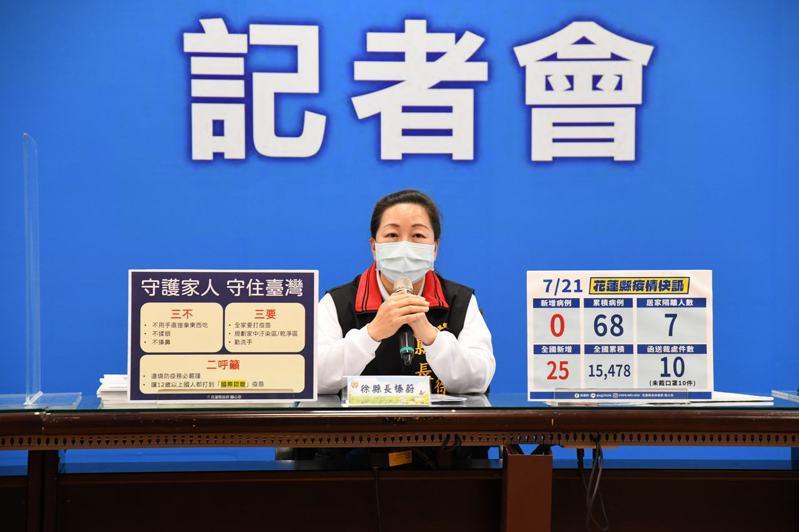 花蓮縣長徐榛蔚今天喊出「三不、三要、二呼籲」口號,提醒鄉親做好防疫措施,也呼籲中央嚴謹守住邊境防疫,並讓12歲以上國人打到國際認證的疫苗。圖/花蓮縣府提供