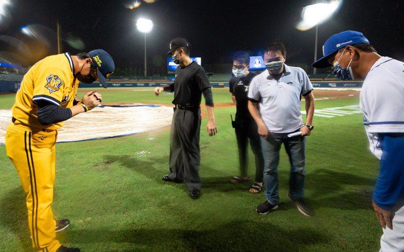 新莊球場本日中信兄弟與富邦悍將隊之戰因雨延賽。圖/中華職棒提供