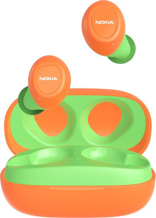 NOKIA真無線藍牙耳機「亮光橘撞草地綠」E3100-Org,售價1,980元。...