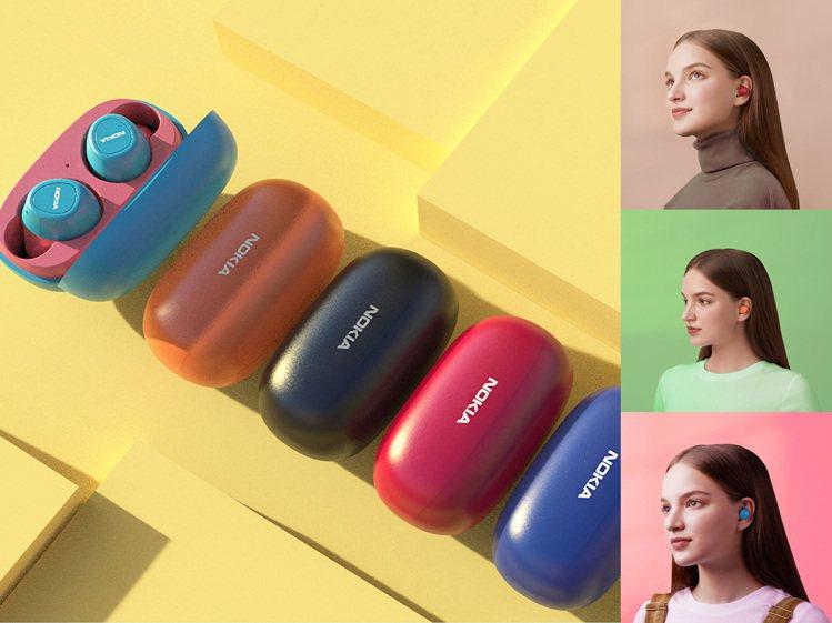 NOKIA真無線藍牙耳機E3100外型精巧時尚,充電盒僅重30g。圖/雙全國際提...