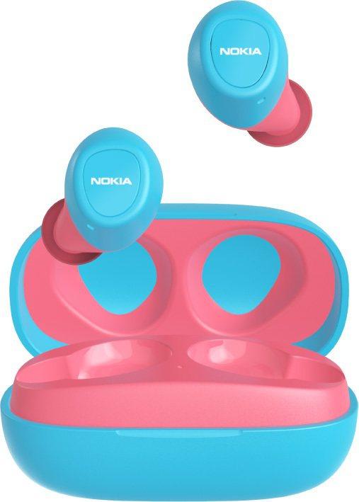 NOKIA真無線藍牙耳機「湖水藍撞珊瑚紅」E3100-PK,售價1,980元。圖...
