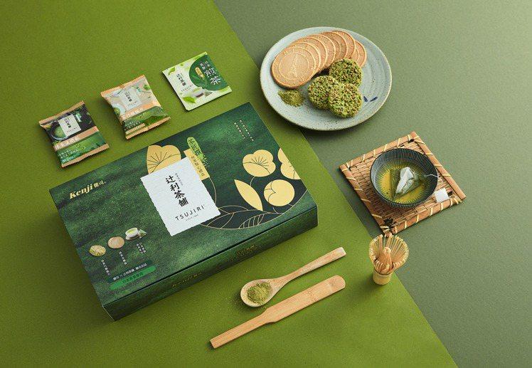 美式賣場熱賣的「健司X辻利煎茶茶點禮盒」,現已開放於7-11預購,每組450元。...