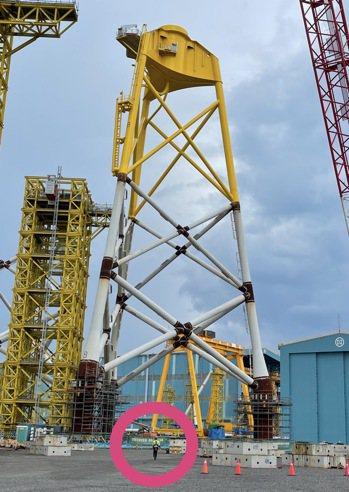 興達海基完成首座百分百國產化水下基礎設施,工人從下方走過,對比25樓層高的設施如...