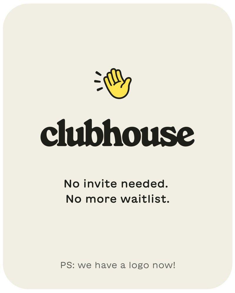 Clubhouse宣布停止邀請制,所有用戶皆可進入。 圖/翻攝自twitter@Clubhouse