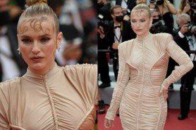 《艾蜜莉在巴黎》卡蜜兒紅毯穿錯衣仙氣全無!肉色皺褶裙+超貼胎毛瀏海被批浪費顏值