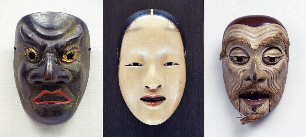 圖為能樂演出用的各種能面具。 圖/維基共享