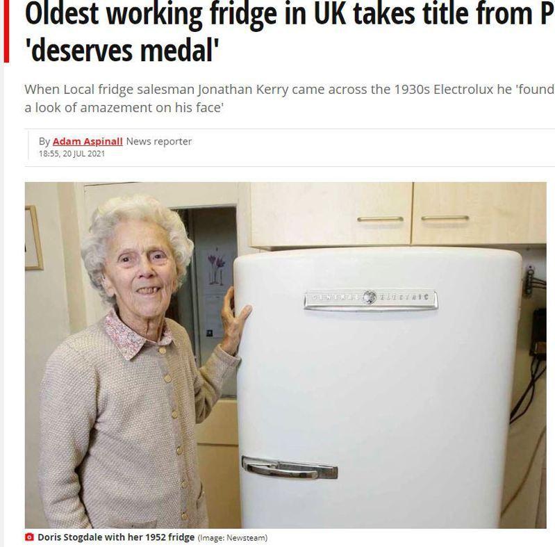 國外一位冰箱銷售員在顧客家中發現一台持續運轉71年的古董冰箱,刷新英國皇室67年紀錄。圖擷自鏡報