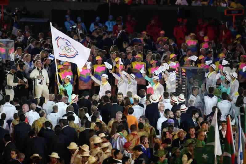 東京奧運開幕以日文片假名排序,中華隊將排第104順位進場,圖為上屆里約奧運進場。