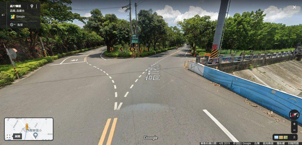高雄潮寮路被認為還原了Y字路口,引發日網討論。圖翻攝Googlemap