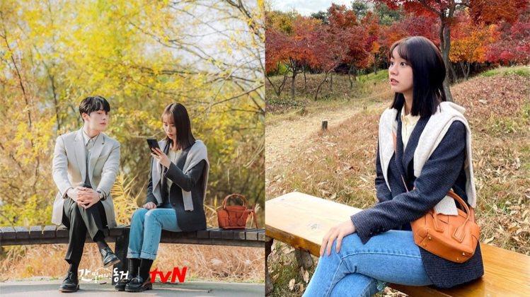 俏麗的Bottega Veneta包款輕巧實用。圖/取自tvN Drama粉絲專...