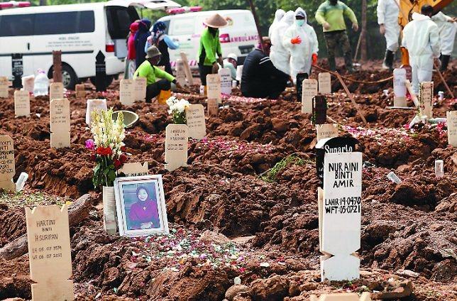 印尼疫情嚴峻,已知10名台商或台幹染疫去世,累計約百人確診。因華航、長榮暫時停飛印尼,而原定的印尼峇迪航空包機臨時取消,台商盼政府協調,讓台商能平安返鄉。圖為印尼草草掩埋死亡的患者。圖/美聯社