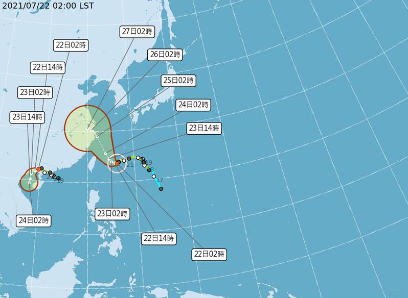 中央氣象局說,中度颱風烟花中心位置在台北的東南東方約500公里海面上,以每小時4公里速度,向西轉西北西緩慢進行,七級風暴風半徑200公里,十級風暴風半徑70公里。暴風圈正逐漸朝台灣東半部海面接近,對台灣東北部海面及東南部海面構成威脅。圖/取自中央氣象局網站
