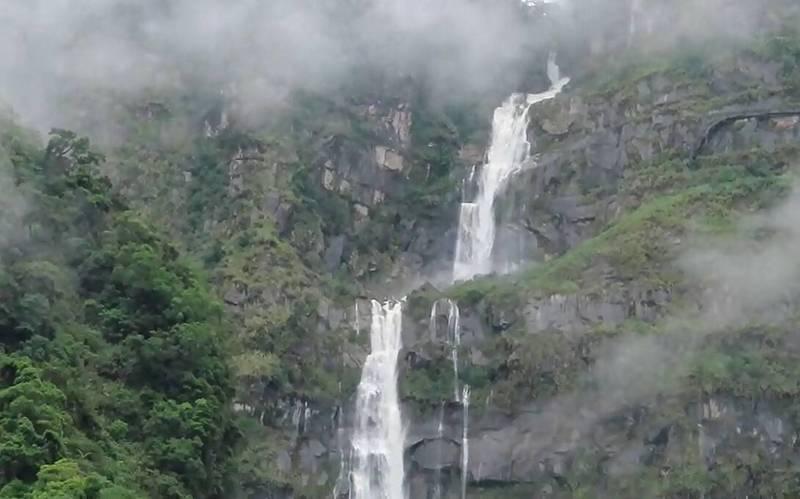 嘉義縣阿里山鄉豐山村蛟龍瀑布,落差達846公尺,是台灣落差最大的瀑布,梅雨豐沛再現氣勢磅礡英姿。圖/許銘月提供