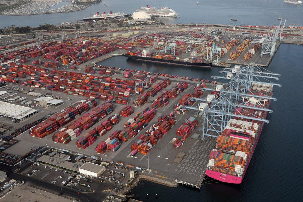 美國洛杉磯長堤港。  路透
