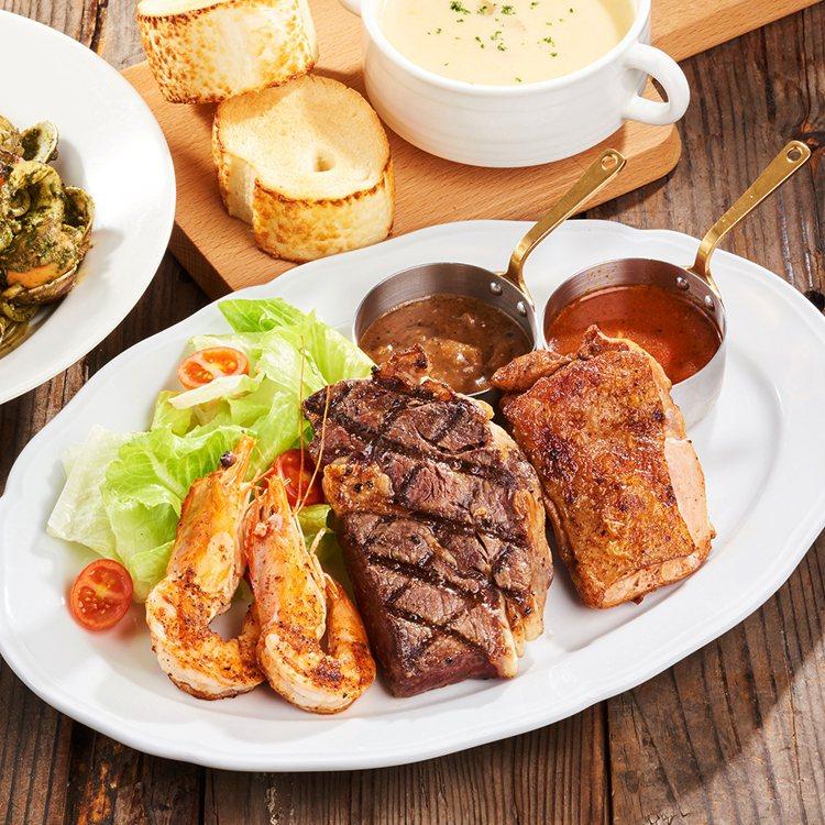 沙朗牛排海鮮鮮蔬拼盤。圖/樂雅樂提供