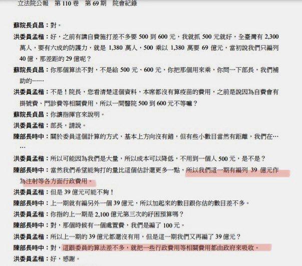 洪孟楷表示,他6月時質詢行政院長蘇貞昌及衛福部長陳時中,陳時中說診所打疫苗行政費用由政府吸收,圖為當時質詢的文字紀錄。圖/洪孟楷辦公室提供
