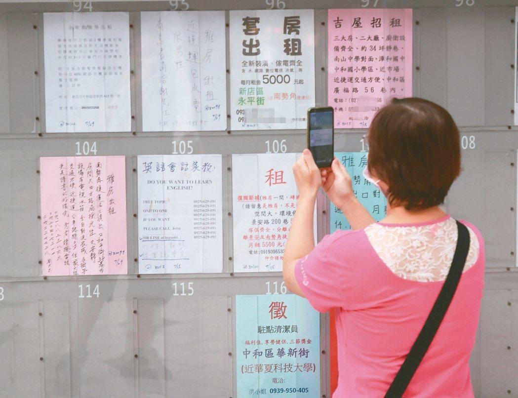 圖為街頭租屋看板。本報資料照片,記者潘俊宏/攝影