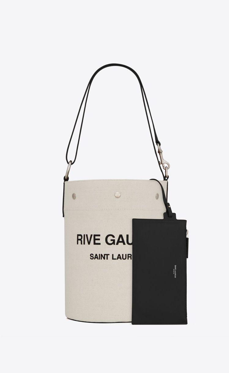 Rive Gauche帆布與黑色小牛皮水桶包,44,000元。圖/Saint L...