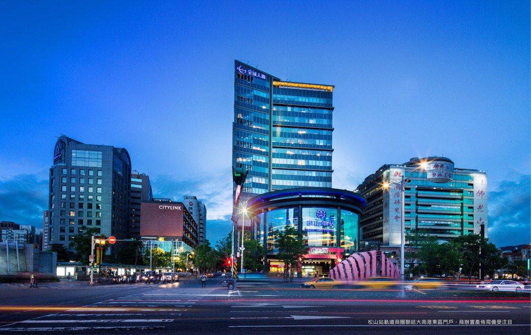 松山站軌道商圈聯結大南港東區門戶,商辦置產佈局備受注目。