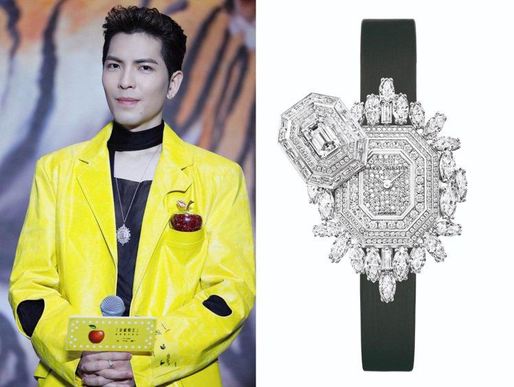 蕭敬騰記者會上除了風格前衛的黃色西裝,胸前更戴上有「鑽石之王」美稱的海瑞溫斯頓(...
