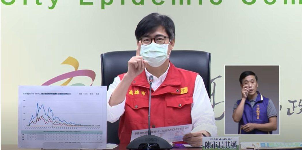 高雄市長陳其邁說,未來一年戴口罩將是國人的日常。記者徐白櫻/翻攝