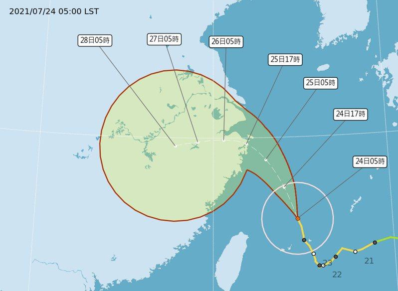 今天凌晨5時中央氣象局路徑潛勢預測圖顯示,中颱烟花持續朝北北西前進,今晚有望脫離海上警報的警戒範圍。圖/取自氣象局網站