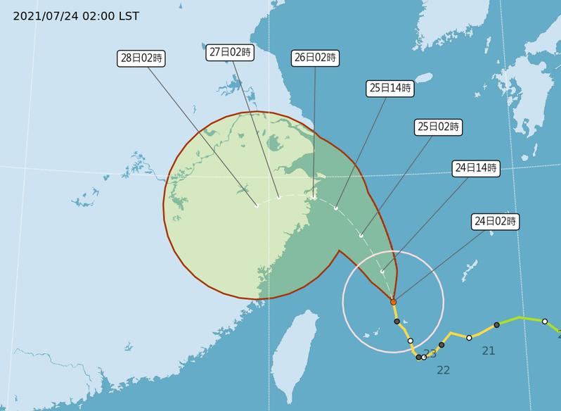 中央氣象局說,烟花颱風中心位置在台北的東北東方約330公里之海面上,以每小時16公里速度,向北北西進行。圖/取自中央氣象局網站