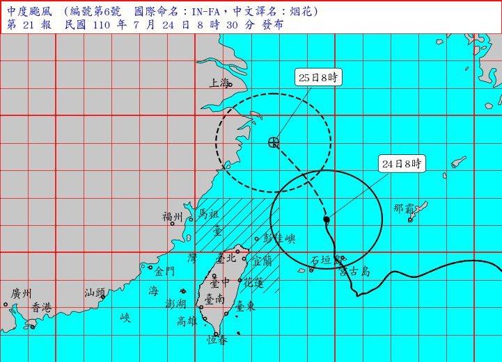 烟花颱風上午8時的中心位置在台北的東北東約350公里海面上。以每小時15公里速度,向北北西轉西北進行。將於上午11時30分解除海警。圖/氣象局提供