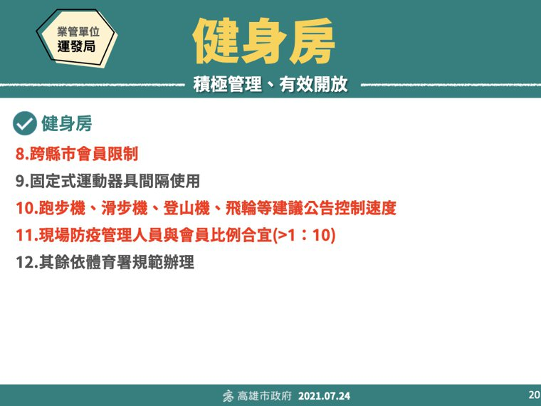 高雄市政府今早公布各項防疫工作指引,多數依中央指示,部分加嚴。圖/高市府提供