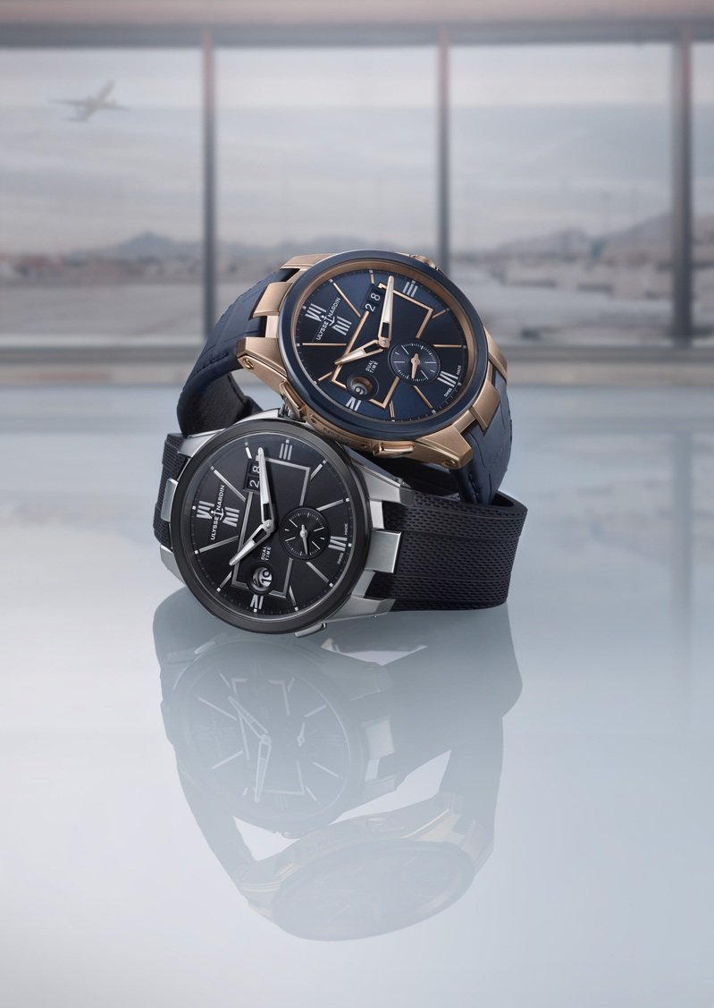 Ulysse Nardin雙時區Duo time腕表,精鋼款27萬4,000元,玫瑰金款則為65萬7,900元。圖 / 雅典表提供。