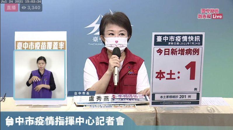 台中市長盧秀燕今天宣布,今天新增1例本土確診,為24歲林新醫院急診室男員工。圖/台中市政府提供