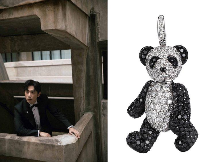 白客在燕尾服西裝領片上的墜飾選擇了熊貓造型的BoBo黑白鑽石墜飾,調和了隆重嚴肅...
