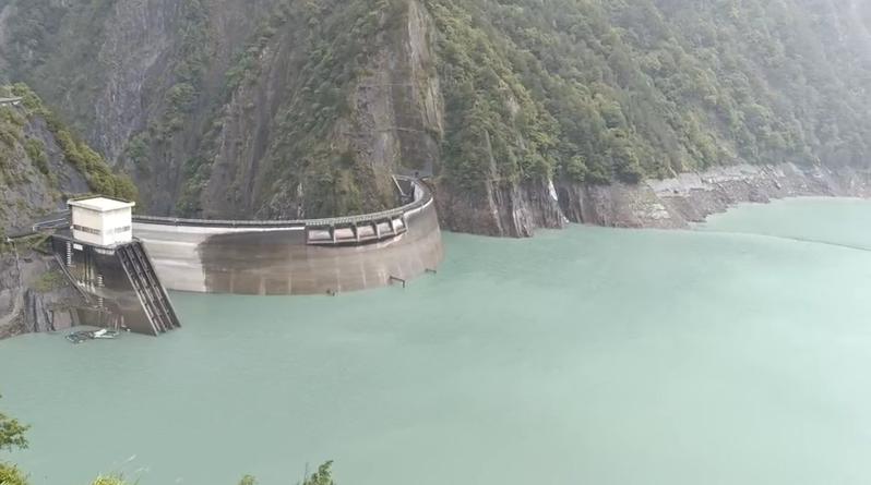 德基水庫集水區一帶今日降雨,進流量大幅攀升。圖/民眾提供