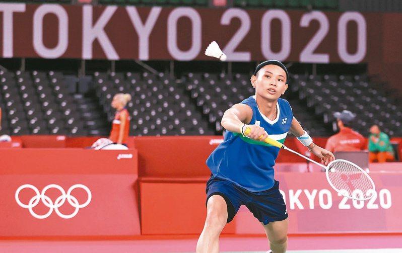 羽球「世界球后」戴資穎昨天在東京奧運首戰只花25分鐘就收下勝利。特派記者余承翰/攝影