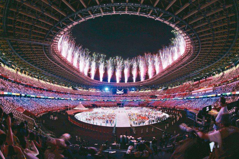 東奧開幕典禮由日本動漫與傳統元素交錯。記者余承翰/攝影