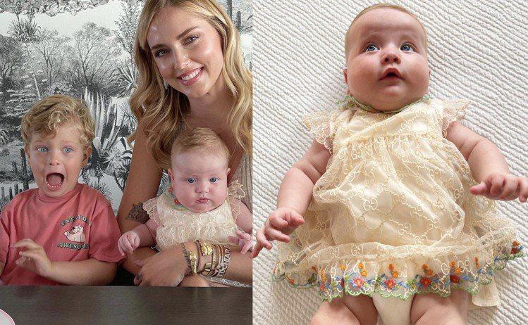 Chiara Ferragni的女兒Vittoria身穿GUCCI刺繡蕾絲洋裝慶...