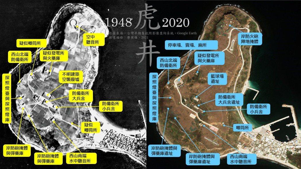 虎井西山在1948年美軍航照與2020年Google Earth衛星影像下的對照。 影像編修/廖英雁
