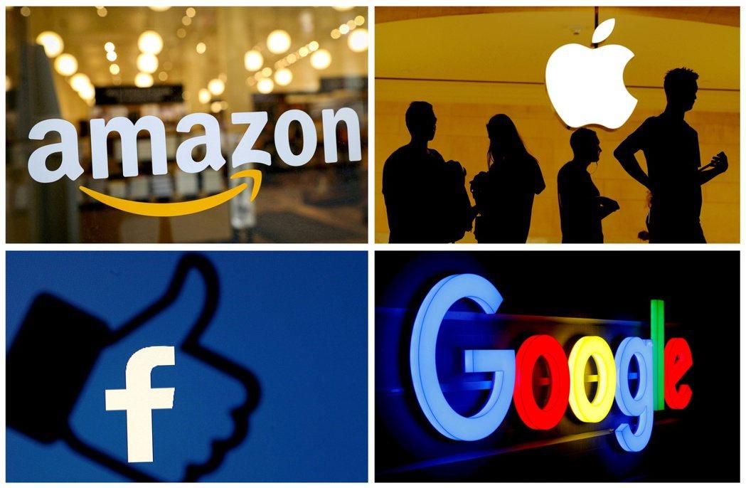 全美市值前四大企業蘋果(Apple)、微軟、亞馬遜,以及Google母公司Alp...