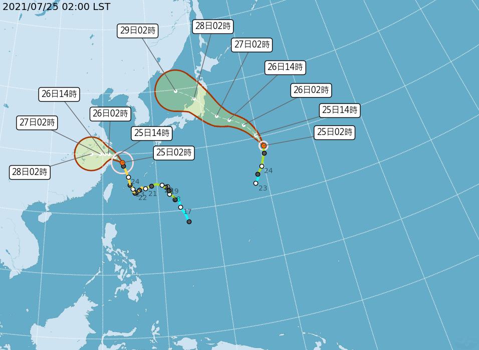 中央氣象局路徑潛勢預測圖顯示,中颱烟花在浙江海面,向西北轉偏西,今晚從杭州灣南方...