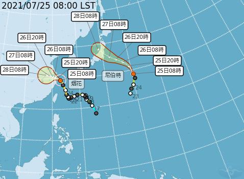 尼伯特、烟花颱風路徑潛勢預報。圖/取自氣象局網站